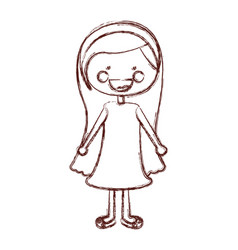 Blurred contour smile expression cartoon long hair vector