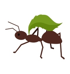 Brown ant with green leaf vector