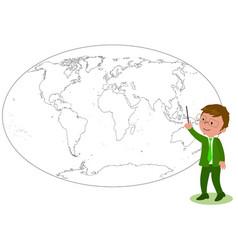 Businessman showing on worldmap vector