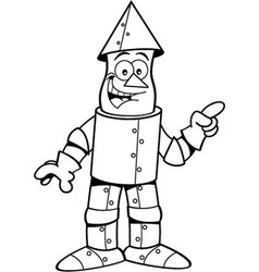 Cartoon tin man pointing vector
