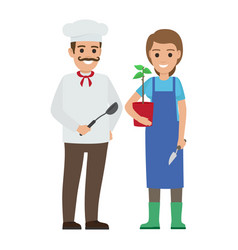 chef cook and gardener two smiling persons vector image vector image