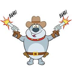 Cowboy dog cartoon vector