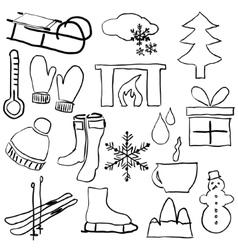 Doodle winter pictures vector