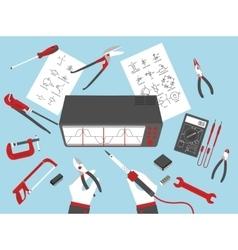 Flat electronic repairs vector