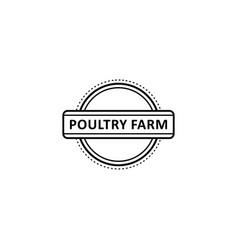 Flat poutry farm logo in circle icon vector