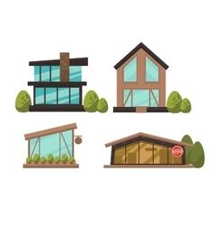 Flat set of modern urban architecture vector image