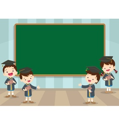 Graduation students and chalkboard vector