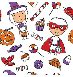 happy girl and boy in halloween costumes with vector image
