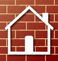House icon with brick wall vector