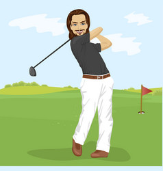 Male golfer hitting golf shot with club on course vector