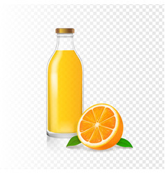 orange juice in glass bottle and realistic orange vector image vector image