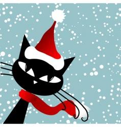 Santa cat christmas card vector