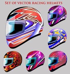 set of beautiful racing helmets vector image vector image
