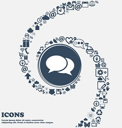 Speech bubbles icon in the center Around the many vector image vector image
