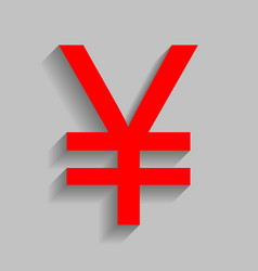 Yen sign red icon with soft shadow on vector