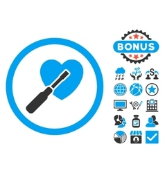 Heart tuning flat icon with bonus vector