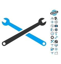 Wrenches Icon With Air Drone Tools Bonus vector image