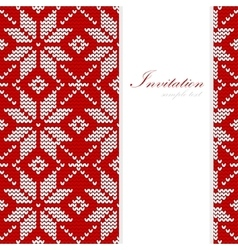 Christmas card nordic knitted pattern vector