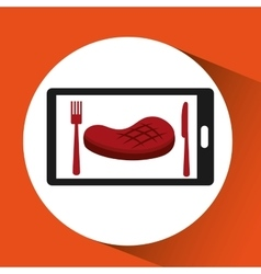 Smartphone order meat food online vector
