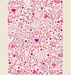 Color patterned background with red valentine vector