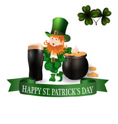 image leprechaun glass of dark beer clover vector image