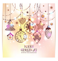 New years greeting card merry christmas bright vector