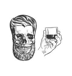Hand drawn hand holding alcohol shot and hipster vector