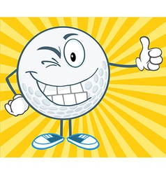 Winking golf ball holding a thumb up vector