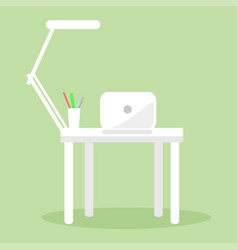 White notebook table lamp and several pencil pens vector