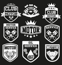 Set of motor club signs and label vector