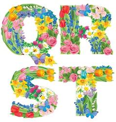 Alphabet of flowers QRST vector image