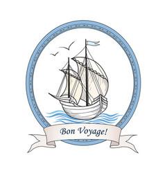 Sailing ship summer holiday bon voyage card sail vector