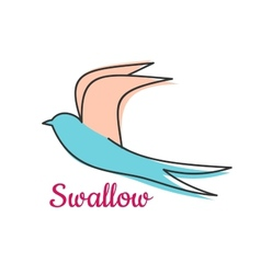 Abstract swallow bird symbol vector