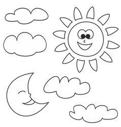 Sun moon and clouds - weather cartoon icons set vector