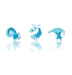 Splashing waves and water second set icons vector