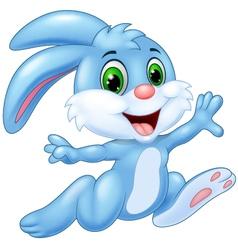 Cartoon bunny running and happy vector image
