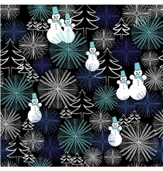 Christmas seamless pattern with snowman and vector
