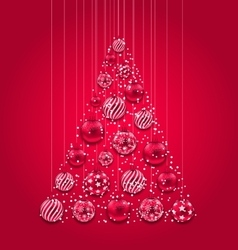 New year abstract tree made in pink hanging balls vector