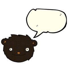 Cartoon black bear head with speech bubble vector