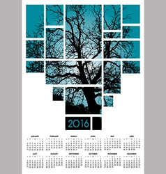 A 2016 tree and nature calendar vector image