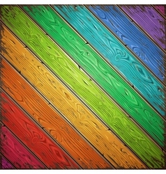 Rainbow old wooden painted wall vector