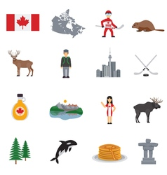 Canada flat icons set vector