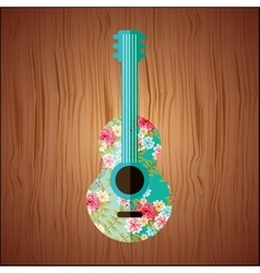 Floral guitar design vector
