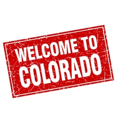 Colorado red square grunge welcome to stamp vector