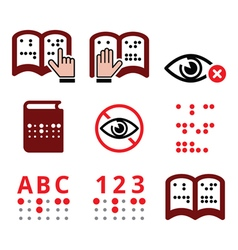 Blind people braille writing system icon set vector