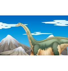 Scene with dinosaur and mountains vector