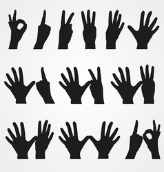 Set of of numbers in the form of hands vector
