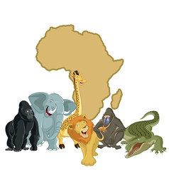 Africa with animals vector