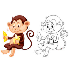 Animal outline for monkey eat banana vector