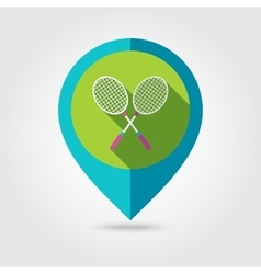 Badminton Racket flat mapping pin icon vector image